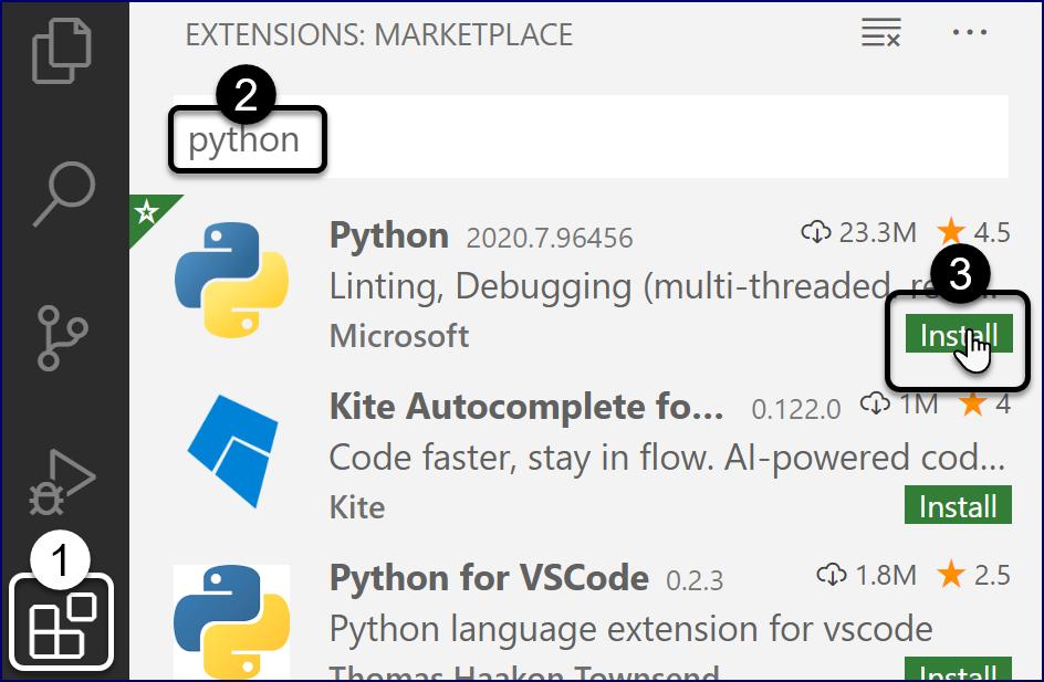 VS Code: Install Python Extension