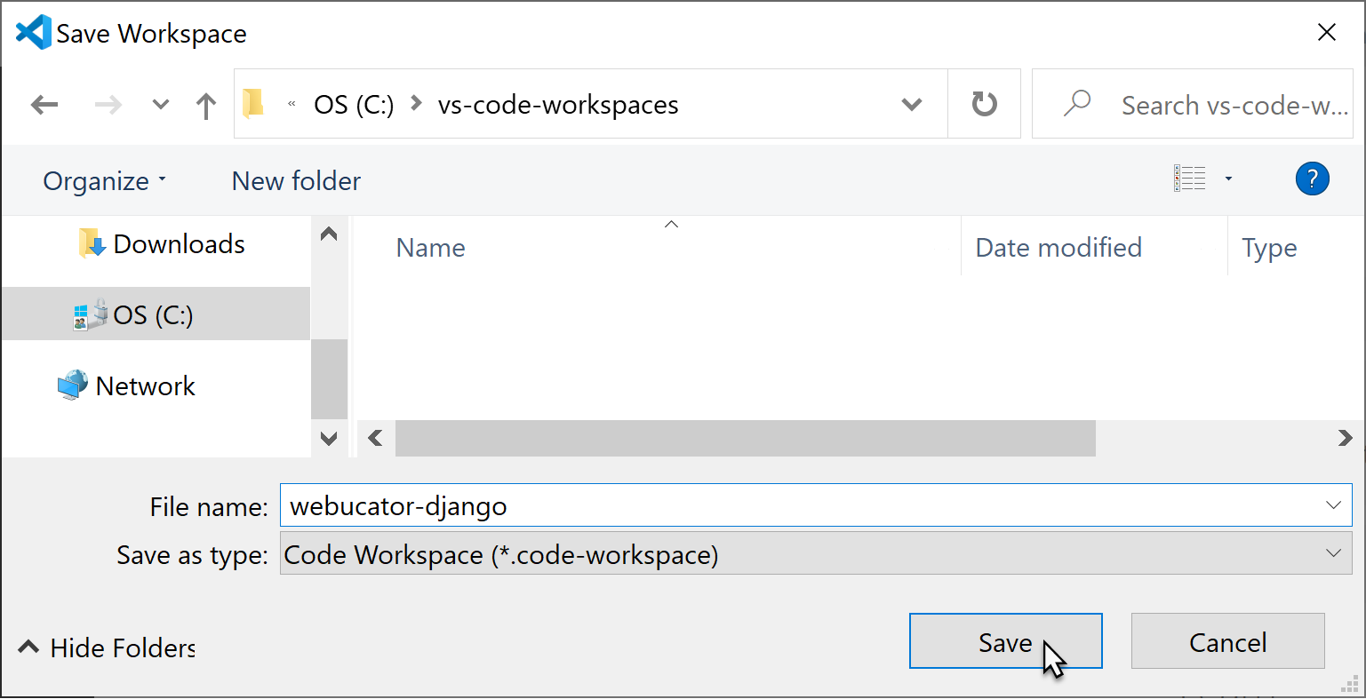 VS Code: Save Workspace As...